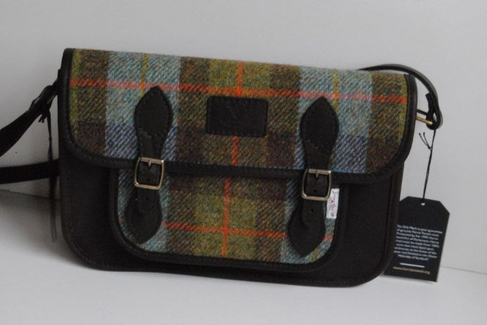 Taransay Deer Leather and Harris Tweed Satchel Bag in Lovat Hunting MacLeod